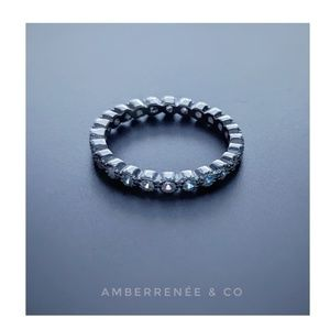 2mm Bezel Sterling Silver Eternity Infinity Ring